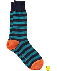 Banana Republic Factory Wide Stripe Sock River Teal - Lyst