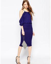ASOS | Cold Shoulder Bodycon Midi Dress | Lyst