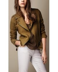 Burberry Linen Biker Jacket - Lyst