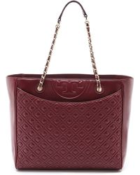 Tory Burch Fleming East  West Tote - Deep Berry - Lyst