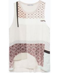Zara Printed Top white - Lyst