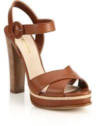 Prada | Stacked Heel Leather Platform Sandals | Lyst