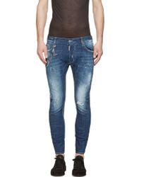 DSquared2 Blue Chain Tidy Biker Jeans - Lyst