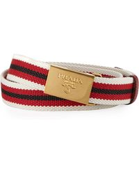 Prada Multi-stripe Canvas Slider Belt - Lyst