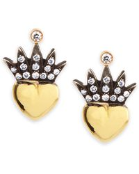 Irit Design - Heart & Pave Diamond Crown Stud Earrings - Lyst
