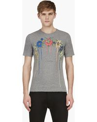 Diesel Black Gold Grey Painted Floral Print Toriciy T_shirt - Lyst
