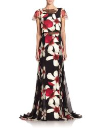 Carolina Herrera Magnolia-Print Overlay Gown - Lyst