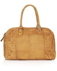 Topshop Womens Leather Woven Panel Luggage Bag Tan - Lyst