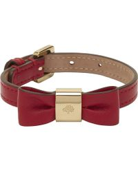 Mulberry Leather Bow Bracelet red - Lyst