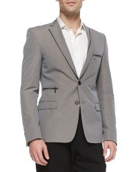 Versace Trendfit Zipperdetail Jacket Gray - Lyst