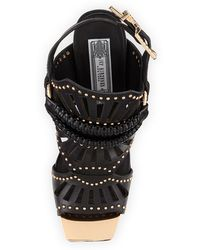 Ivy Kirzhner Valentin Goldenstudded Leather Stiletto Sandal - Lyst