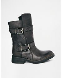 Steve Madden Buckle Caveat Leather Ankle Boots - Lyst