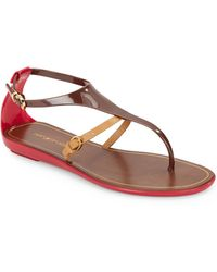 Sergio Rossi Colorblock Thong Sandals - Lyst
