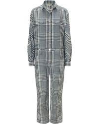 Temperley London Black Mix Linen Check Jumpsuit - Lyst