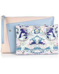 Mary Katrantzou Rose Garden-Print Detachable Leather Clutch blue - Lyst