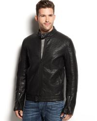 Guess Quilted Moto Jacket - Lyst