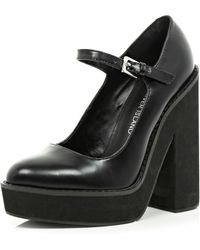 River Island Black Block Heel Mary Jane Platforms - Lyst