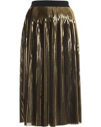 Topshop Womens Gold Foil Pleated Midi Skirt Gold - Lyst