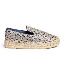 Ash | 'xem' Crochet Glitter Flatform Espadrilles | Lyst