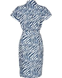 Jaeger Zebra Print Linen Dress - Lyst