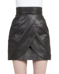 Balmain Draped Leather Mini Skirt - Lyst