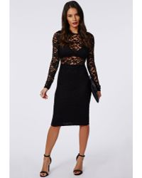 Missguided Carrianne Lace Long Sleeve Bra Insert Midi Dress Black - Lyst