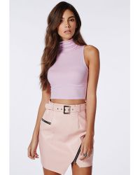 Missguided High Neck Ribbed Jersey Sleeveless Crop Top Lilac - Lyst