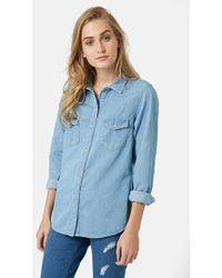Topshop Denim Western Shirt - Lyst