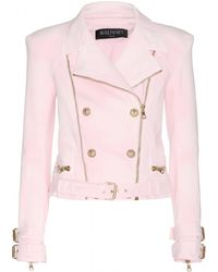 Balmain Stretch Cotton Biker Jacket - Lyst