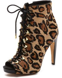 Sam Edelman Karmen Open Toe Haircalf Booties - New Nude Leopard - Lyst