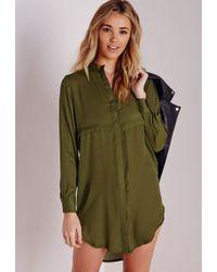 Missguided - Oversized Shirt Dress Khaki - Lyst