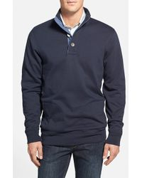 Brooks Brothers 'New Canaan' Quarter Button Sweater With Suede Trim - Lyst