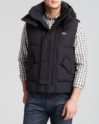 Lacoste Quilted Hood Vest - Lyst