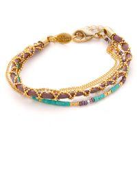 Sogoli - Chain & Beaded Wrap Bracelet - Gold/lavender - Lyst
