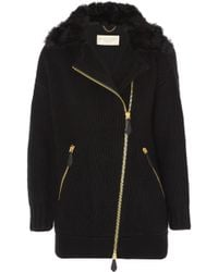 Burberry Brit - Shearling-trimmed Wool And Cashmere-blend Cardigan - Lyst