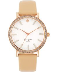 Kate Spade Ladies Metro Pave Vachetta Leather Watch - Lyst