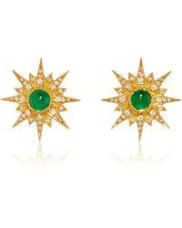 Arman Sarkisyan - Gold Supernova Studs With Emerald Centre - Lyst