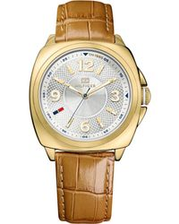 Tommy Hilfiger Womens Camel Crocoembossed Leather Strap 38mm - Lyst