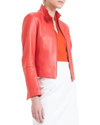 Akris Split-Collar Asymmetric-Cut Leather Jacket - Lyst