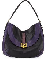 orYANY Bessie Colorblock Leather Hobo Bag purple - Lyst