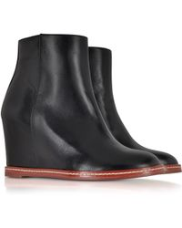 MM6 by Maison Martin Margiela - Black Leather Ankle Boot - Lyst