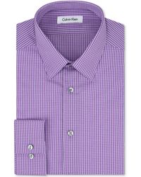 Calvin Klein Steel Slimfit No Iron Purple Check Dress Shirt - Lyst