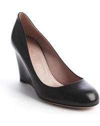 Gucci Black Leather Wedge Pump - Lyst
