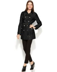 Calvin Klein Double-Breasted Belted Trench Coat - Lyst