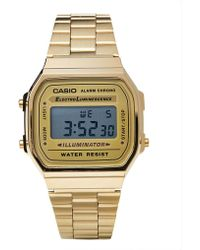 Casio A168Wg-9Wdf Digital Bracelet Watch - Gold - Lyst
