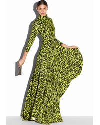 Milly Graffiti Scribble Print Bias Gown yellow - Lyst