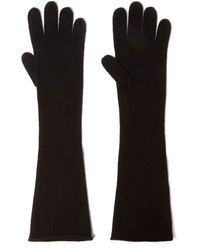 CASH CA - Black Long Knit Cashmere Gloves - Lyst