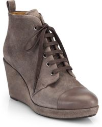 Coclico Henri Suede Lace-Up Wedge Ankle Boots - Lyst