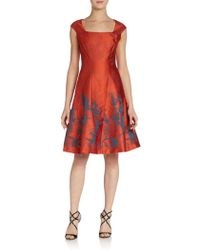 Kay Unger Fit-and-flare Leafprint Dress - Lyst