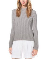Michael Kors Shaker-stitch Hooded Cashmere Sweater - Lyst